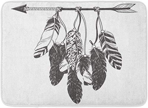 JoneAJ Atrapasueños Flecha y Plumas Indio Nativo Americano Talismán Hipster Boho Tatuaje Libro para Colorear Franela Alfombras de baño evitan el Cambio de impresión 3D súper Absorbente 60x40cm