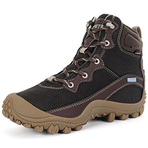 XPETI Scarponi da Montagna, Donna Escursionismo Scarpe Trekking Impermeabili Mid per Camminare Alpinismo Tecnica Calzature Femminili Trail Invernali Nero 38