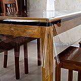 HM&DX PVC Trasparente Tovaglia Morsetto soldi Impermeabile Lavabile Morbidissimo 0.Spessore 23mm Copritavolo panno Coprendo tavolo rettangolo-Chiaro 120x160cm(47x63inch)