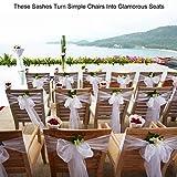 BITFLY 100pcs rubans en organza Housse de chaise nœuds rubans nœuds de mariage décoration de Ceremonie Fête Anniversaire 18 x 275cm 30Colours(blanc)