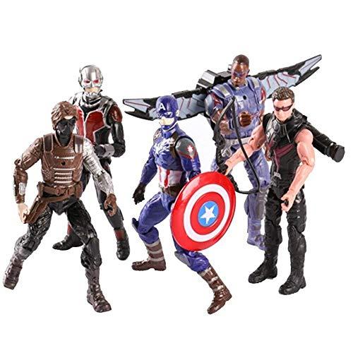 MA SOSER Marvel Avengers 3 Spielzeug-Set: 6-Zoll-Captain America, Der Wintersoldat, Ameisenmensch, Falke, Hawkeye-Actionfigur, Jungenspielzeug (Gelenk kann aktiv Sein) - Insgesamt 5 (Hawkeye Kostüm Kind)