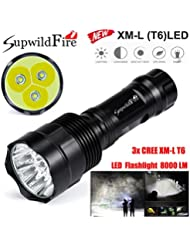 KanLin 5 Modus 35000Lm 9x CREE XM-L T6 LED 18650 Taschenlampe super helle Fackel Licht (8000 LM)