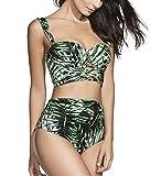 Retro 50er Jahre hohe Taille Bikini Set mit Blättern drucken
