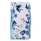 Chreey Xiaomi Redmi 5 Hülle, PU Leder Schutzhülle mit Blau Schmetterling Muster Bumper Flip Wallet Case Handyhülle