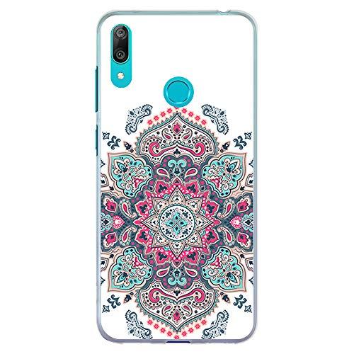 BJJ SHOP Funda Transparente para [ Huawei Y7 2019 ], Carcasa de Silicona Flexible TPU, diseño: Mandala Rosa Morado y Azul