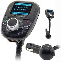 Univeral Bluetooth Wireless Car MP3 Player FM Transmitter Modulator Radio Adapter Bluetooth Handsfree Car Kit with Hands-Free Calling Music Control Mic (Orange LCD Display)