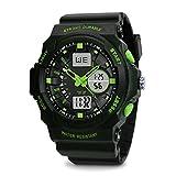 TOPCABIN Jungen Uhren Herren Kinder Armbanduhr Analog Digital Wasserdicht mit Wecker/Timer/LED-Licht/Silikon band,Elektronische Stoßfest Sports Uhren für Jungen grün