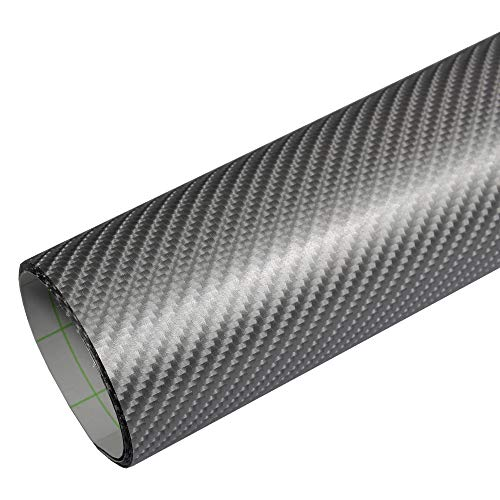 Rapid Teck® PREMIUM – 4D Carbon Silber Grau 1m x 1,52m Auto Folie Blasenfrei mit Luftkanälen für Auto Folierung und 3D bekleben in Matt Glanz und Carbon