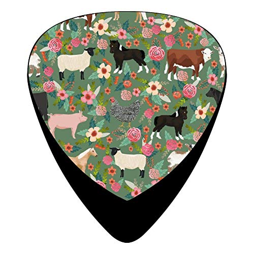 Pigs Cows Sheep Pattern Celluloid Electric Guitar Picks 12-pack Plectrums For Bass Music Tool ()