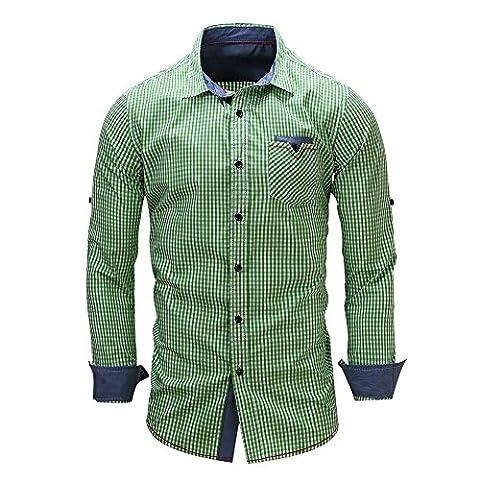 Kuson Herren Kariert Hemd Slim Fit Bügelleicht Doppelfarbig auch fürs Oktoberfest geeignet (L, A Stil-Grün)