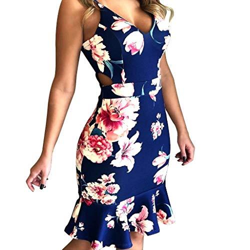 KIMODO Damen Kleider Blumen Drucken Sexy Loch Kleid Minikleid Camisole Partykleid Abendkleid Sommer Ärmelloses Strandkleid -