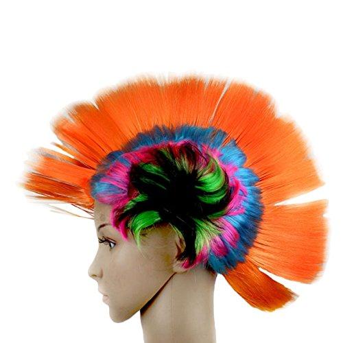 Tonsee Geisterhaft Masquerade Punk Mohawk Mohican Frisur Hahnenkamm Haar Perücke (orange) (Mohawk Kostüme)
