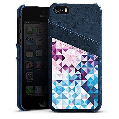 Apple iPhone 5s Housse Étui Protection Coque Pastel Motif Motif Étui en cuir bleu marine