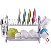 Escurreplatos Toplife de acero inoxidable cromado, para la cocina, cromo, Plateado, 2 niveles (Estante de plato cromado)