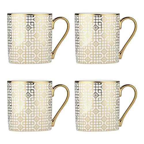 Bia Set of 4Art Deco Tassen, Porzellan, Gold, 12x 8,5x 9,5cm - Art Deco Porzellan