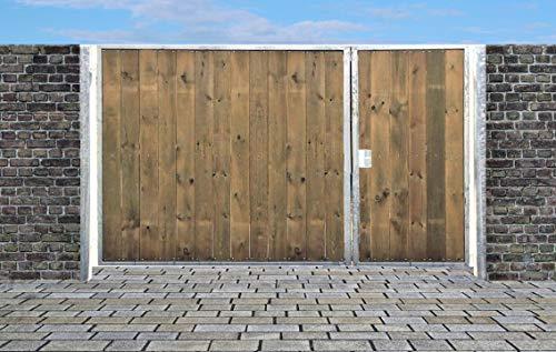Einfahrtstor Sas Tor Holztor Gartentor Hoftor Verzinkt mit Pfosten & Holzfüllung Senkrecht 2-flügelig 400cm x 180cm