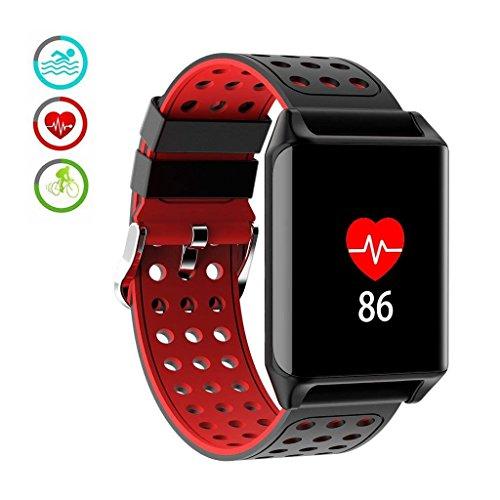 M-znsh Fitness Tracker, Activity Tracker, Pulsmesser IP67 Wasserdicht Smart Armband Blutdruckmessgerät Schlaf Monitor Schrittzähler Kalorienzähler für IOS und Android (Farbe : Rot)