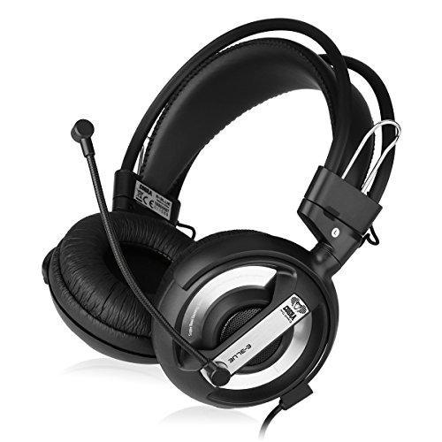 E-3lue Ehh007Gaming-Headset mit Mikrofon (Headwear, HiFi, Stereo, hohe Leistung, 94± 3dB, mit zwei 3.5mm Kabel, für PC Notebook) (schwarz silber) - Pc 2100 Laptop