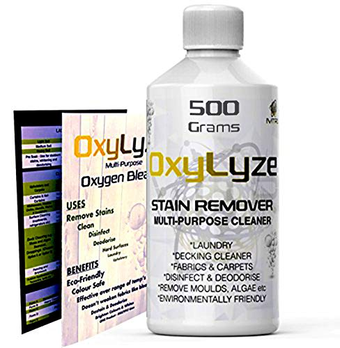OXYGEN BLEACH SODIUM PERCARBONATE Stain Remover - OxyLyze - DECKING CLEANER - Multiple Use Instructions - DECK PATIO CLEANER, MOULD and ALGAE REMOVER LAUNDRY and GENERAL CLEANER - 500 Grams