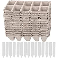 10 tiras de macetas cuadradas de la turba planta de la planta de semillero tazas de las guarderías de la hierba de la hierba macetas biodegradables con etiquetas del fabricante de la etiqueta 50pcs
