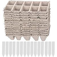 10 tiras de macetas cuadradas de la turba planta de la planta de semillero tazas de las guarderías de la hierba de la hierba macetas biodegradables con ...