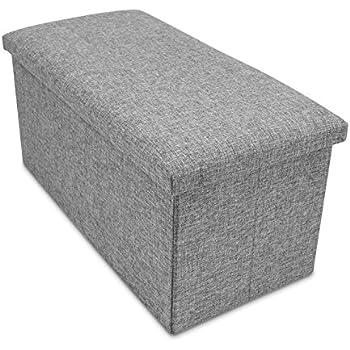 Amazon.de: Faltbare Sitzbank mit Extra Stauraum - Grau 76 x 38 x ...