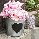 Estilo rústico Zinc florero de interior/al aire libre con pizarra diseño de corazón. Ideal para personalizar el contenido–Ideal regalo de San Valentín. Encantador país estilo Pot 13,5X D16cm