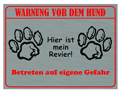 Warnung Vor Dem Hund - hier ist mein Revier, (mit 2 Klebestreifen) -