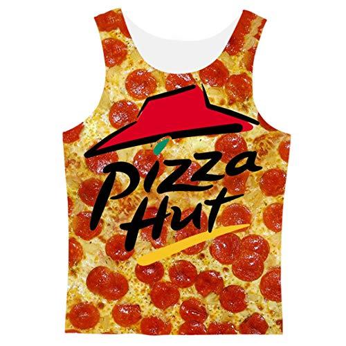 Pepperoni Herren Kapuzenpullover Pizza 3D Print Hoody T-Shirt/Sweatshirt/Hoodies/Pants Harajuku Funny Streetwear Hiphop Pullover Gr. L, Tank - Pizza Lieferung Kostüm