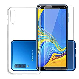 Galaxy A7 2018 Transparent Case + Tempered Film Glass Screen Protector – Silicone Soft TPU Cover Shell for Samsung Galaxy A7 2018 (6.0″)
