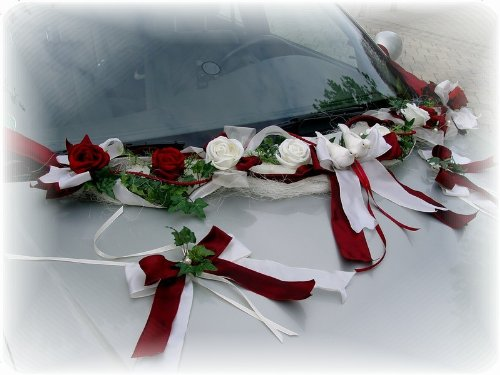 3-teilig Autoschmuck Bordeaux Creme Autodeko Hochzeit Tischdeko Autogirlande
