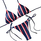 LHWY Bikini Damen Push Up, Mode Frauen Rot Weiß Streifen Verband Gepolsterter BH Strand Halter Bikini Set Moderne Bademode für Jugendliche Mädchen Sommer Strand Bekleidung (S, Blau)