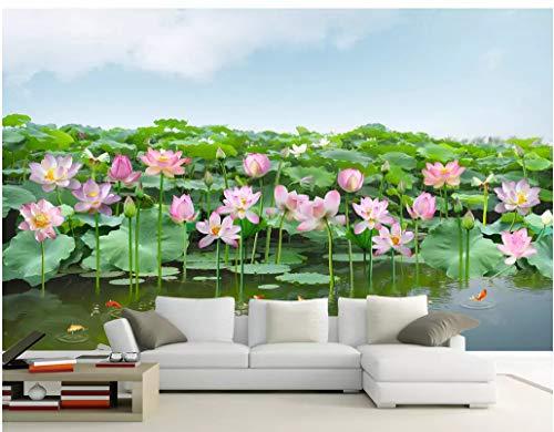 VVBIHUAING 3D Dekorationen Aufkleber Tapete Wandbilder Wand Lotus Karpfenlandschaft Dekoration Home Wohnzimmer Hintergrund Landschaft Kunst Kinderküche (W) 400x(H) 280cm