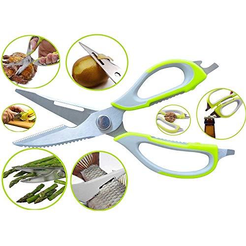 BHAGWATI SALES 10 in 1 Mighty Shears Scissor Multipurpose Stainless Steel Scissor Best Shear of Cooking Scissor Knife/Cutter/Peeler/Opener/Fish Scale Scraper/Slicer/r/Food Scissors/Vegetables Cutter