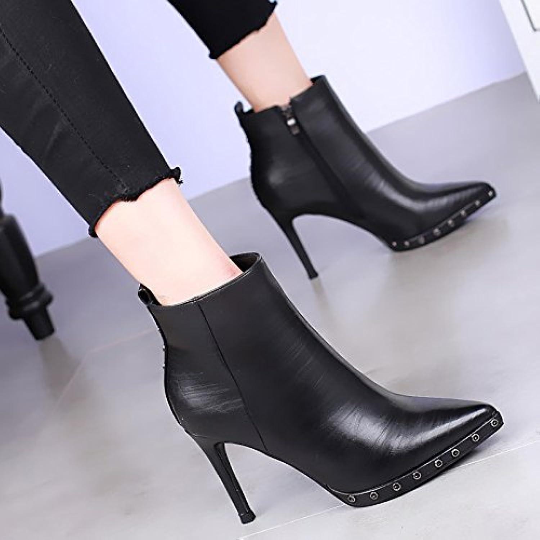 khskx-new alta Talón Botas impermeable zapatos de tacón botas Martin Sexy all-match para remaches, negro