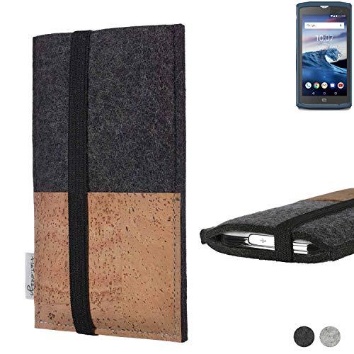 flat.design Handy Hülle Sintra für Crosscall Core-X3 Handytasche Filz Tasche Schutz Kartenfach Case Natur Kork