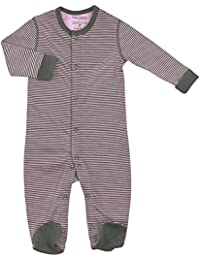 Kushies Cotton Baby Pajamas Grey Pink Striped Baby Girl Footie Footed Sleeper 3M