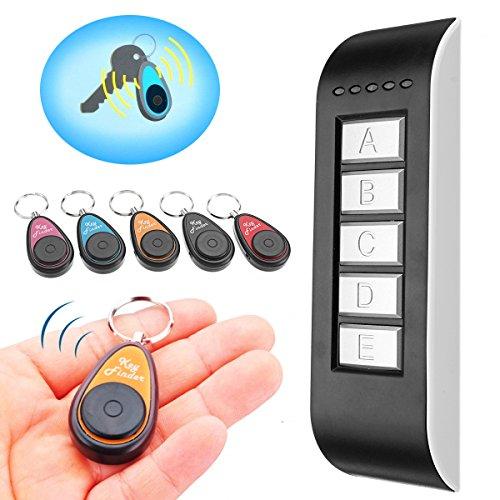 Schlüsselfinder, GLISTENY 5 in 1 Wireless Key Finder, elektronische drahtlose Sachenfinder Sender und Artikel Locator Set Artikel Tracker Perfekt für die Findung Ihres verlorenen Artikels