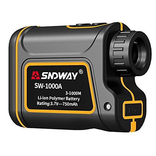 SNDWAY Golf Entfernungsmesser 656 Yards Distanzmesser 7X Messbereich Finder mit Flagpole Arretierbereich Geschwindigkeit Scanning Modell IP54 Wasserdicht für Golf und Jagd mit Geschwindigkeitsscan