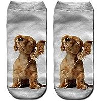 JSGJWWZZ Men's Socks 3D digital Printing Socks Boat Socks Socks Adult Socks Socks Listening to Music Puppy Print Socks