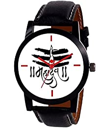 Exotica Watch With Model Of Mahadev | Black Leather Belt | White Colored Dial | Suitable For Men & Boys | Attractive...