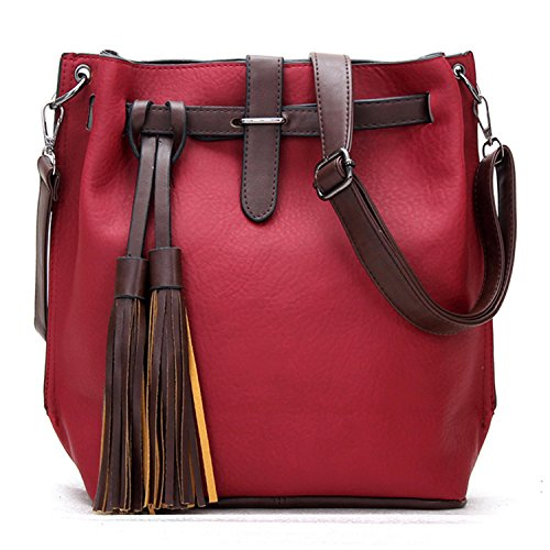 BYD Damen Echtes Leder Große Kapazität Retro matte mit Fransen Tasche Handtasche Schultertasche Rote