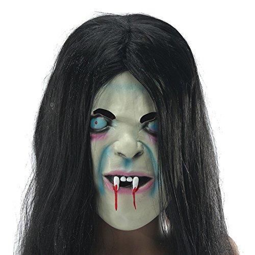 Forspero Latex Scary Long Hair Halloween Full Face Masken Sadako Hallowmas Ghost (Maske Ghost Scary)