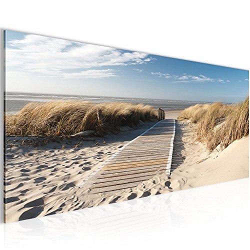 Bilder 100 x 40 cm - Strand Bild - Vlies Leinwand - Kunstdrucke -Wandbild - Mehrere Farben Und...