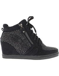 Negro zapatillas cuña levantamiento con diamantes de imitación de tacón 6cm
