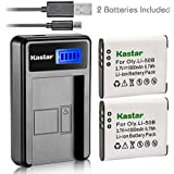 Kastar Battery (X2) & LCD Slim USB Charger For Olympus LI-50B Li50B And SZ-10 SZ-12 SZ-15 SZ-16 HIS Sz-20 SZ-30MR SZ31MR IHS TG-610 TG-630 HIS TG-810 TG-820 TG-830 TG-860 HIS XZ-1 XZ-16 IHS SP-810UZ