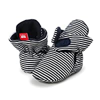 Sabe Boys Girls Non-Slip Mininalst Soft Sole Infant First Pram Shoes Booties Gift Early Walkers, Black, 0-6 Months