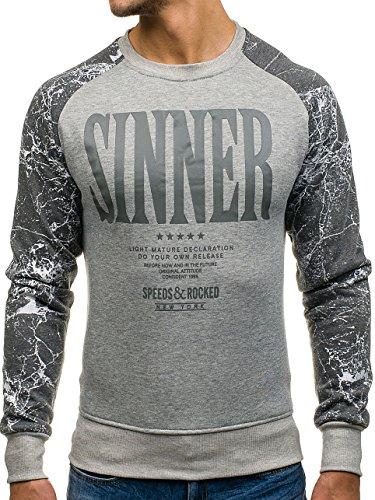 BOLF Herren Pullover Sweatshirt Langarmshirt Sport MIX Grau_J39
