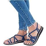 ORANDESIGNE Damen Geflochtene Sandalen Sommer Gladiator Schuhe Casual Flachen Flip Flops Strand Zehentrenner Sandalen Blau EU 38