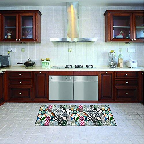 Alfombra de cocina, lavable en lavadora, alfombra cocina,52cm x 100cm, antiácaros, antideslizante, alfombra de cocina diseño geométrico,100% made in Italy,alfombra de cocina diseño de impresión digital